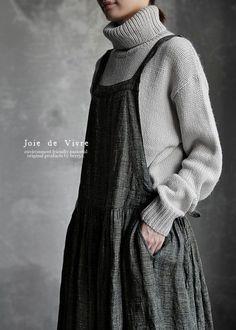 【送料無料】Joie de Vivre先染めトップリネングレンチェックエプロンワンピース