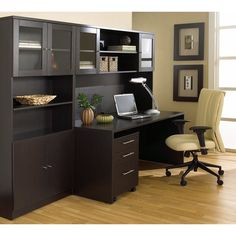 100 Series: Executive Office Desk with Hutch & Bookcase in Espresso by Unique Furniture