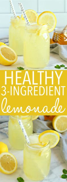 Lemonade This Healthy Lemonade is a delicious all natural summer drink that's free of refined sugars and made with only 3 simple ingredients! Recipe from ! via Healthy Lemonade is a delicious all natural summer drink that's free of refined. Refreshing Drinks, Fun Drinks, Yummy Drinks, Healthy Drinks, Beverages, Alcoholic Drinks, Mixed Drinks, Cold Drinks, Healthy Eats