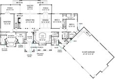 Craftsman Style House Plan - 3 Beds 2.50 Baths 2666 Sq/Ft Plan #119-366 Floor Plan - Main Floor Plan - Houseplans.com