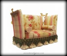 Miniature Knoll Settee Sofa by June Clinkscales 1:12 scale