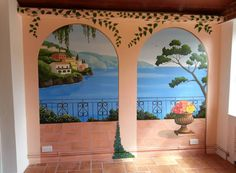 Trompe l'oeil balcony mural painted in four days.