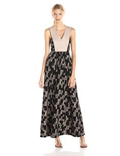Plenty by Tracy Reese Women's Staggered Weave Maxi Dress, Staggered Weave, Large