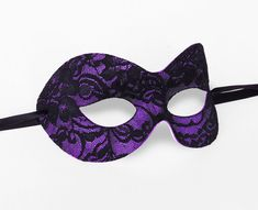 Black & Purple Lace Masquerade Mask  Lace Covered by SOFFITTA