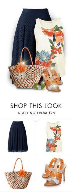 """""""Flower Girl"""" by rigginsbabygirl ❤ liked on Polyvore featuring Lands' End, Tory Burch and Nine West"""