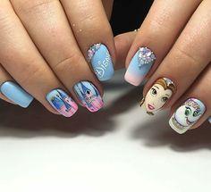 Omg love love nails disney nails в 2019 г. Disney Acrylic Nails, Disney Nails, Colorful Nail Designs, Nail Art Designs, Deer Nails, Nail Time, Butterfly Nail, Cute Nail Art, Nagel Gel