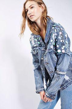www.wannabesuburbanrockstar.com  Sequin Mermaid Oversized Fit Jacket by Kuccia - TopShop