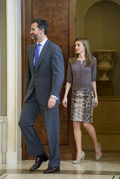 Prince Felipe and Princess Letizia of Spain attend audiences at Zarzuela Palace on 14 Dec 2012 in Madrid