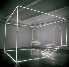 Although this is only the contours using light, it uses the audience's imagination to create the volume of a room.