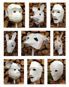 The starting range of diy cardboard masks from Polyfacets in white from https://www.polyfacets.com/