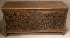 David Hurley beautifully carved Tudor dollhouse miniature chest ~ every Tudor mini manor needs one of these!
