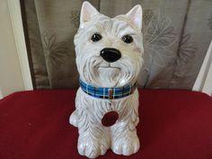 Rare David's Cookie Jeffery Banks Westie Terrier Dog with Collar Cookie Jar