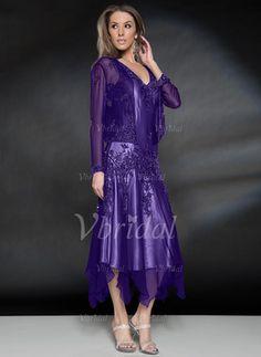 Vbridal - Vestidos princesa/ Formato A Decote V Assimétrico Chiffon de 30D Vestido para a mãe da noiva com Missangas Apliques de Renda Babados em cascata (0085101833)