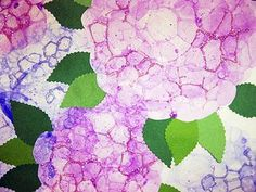 Hydrangeas - use dyi bubble paint (dish soap, tempera or acrylic paint, water) blow using straws to get big bubbles and press paper over mound of bubbles.  paint on leaves instead.