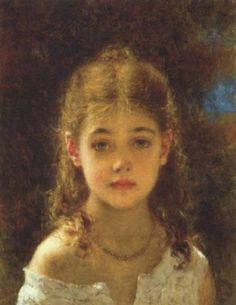 Alexei Alexeivich Harlamoff (1848-1915) Mignon Oil on canvas  36.8 x 47 cm (14.49 x 18½)