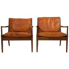 1stdibs   Pair of Leather Lounge Chairs by Kofod Larsen, with Paterna or in English worn leather.