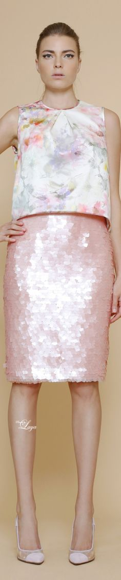 GEORGES CHAKRA Spring Summer 2015 RTW  Love the watercolor pastels and sequin combo