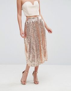 TFNC   TFNC Pleated Midi Skirt In All Over Sequin