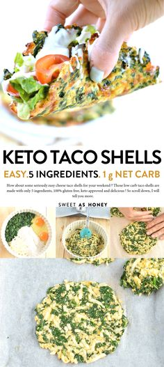 KETO CHEESE TACO SHELLS with Spinach, 1 g net carb #cheesetacoshells #ketotacoshells #ketorecipes #ketodiet