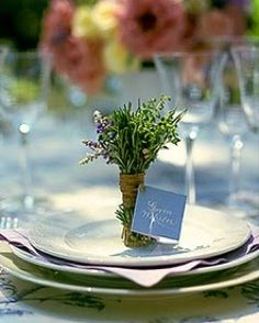 The Humble Herb Pretty placecards using a small bunch of herbs. A sprig of Thyme or Rosemary could also be placed under a ribbon wrapped around a napkin for an understated rustic look.