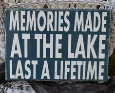 Lake Sign - Lake House Decor - Lake Decor - Cabin - Memories - Hand Painted - Reclaimed Wood - Wall Hanger - Rustic - Typography on Etsy, $36.00