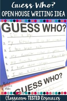 Quick and easy writing idea for Open House that you students will love to write!