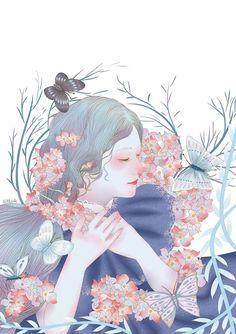 Flower girl  ,Blue line