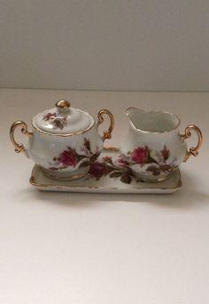 Vintage Sugar Bowl Creamer Tray Shabby Chic Cottage Chic Moss Rose China