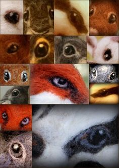 How to needle felt animal eyes - great tutorial by Amanda Adebisi of Fit to be loved. 1-eye collage