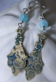 Gen: brass, stone, sterling silver, OOAK earrings   allprettythings - Jewelry on ArtFire