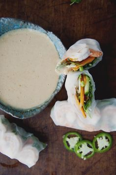 Fresh Northeastern Thai Spring Rolls with Peanut Sauce