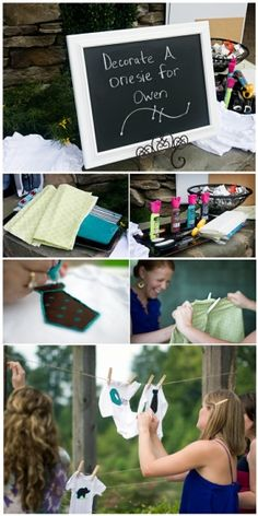 Cute Baby Shower Idea! Decorate onesies with fabric paint, decals, iron-ons, etc.  http://www.borealisblog.com/how-to-make-iron-on-onesies/