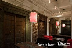 Moments Dining Lounge area with 17th Century Indian Temple Doors