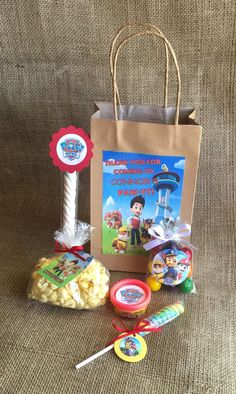 Paw Patrol Party Favors and Bags - 10 Personalized Goodie Bags - Birthday Party - PlayDoh Popcorn Lollipop Marshmallow Twist Bubble Gum - MyPartyElements