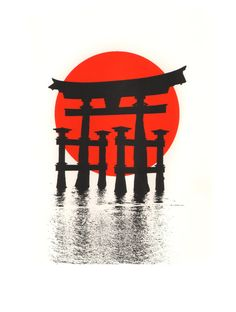 The Torii (floating gate) to the Itsukushima Shinto Shrine, Miyajima Island, Japan : a limited edition silkscreen print Japanese Artwork, Japanese Tattoo Art, Judo, Japanese Urban Legends, Samourai Tattoo, Japanese Shrine, Torii Gate, Miyajima, Japon Illustration