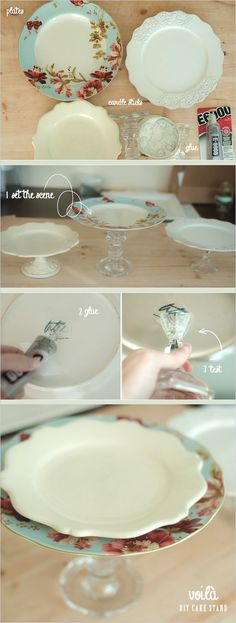An Easy Way To Make A Cake Stand - Click for More...