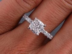 """Cushion cut diamond engagement ring. Gorgeous!""  Shewwww, you can propose this to me aaaaany day."