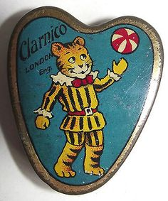 Small heart shaped Clarnico sweet tin with TigerTim design