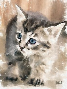 Beautiful Watercolor Cat Art originally done by Vitaly Shchukin Watercolor Cat, Watercolor Animals, Watercolor Paintings, Watercolors, Cat Drawing, Painting & Drawing, Gouache Painting, Art Aquarelle, Animal Paintings