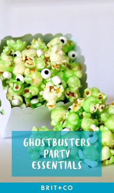 18 Must-Haves for Throwing an Epic Ghostbusters Binge-Watching Party - Brit + Co Ghostbusters Theme, Ghostbusters Birthday Party, Birthday Party Snacks, 4th Birthday, Green Jello, Lime Punch, Creative Party Ideas, Frozen Chocolate, Green Party