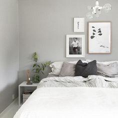 white and grey bedoom