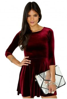 Missguided - Ofelita Velvet Skater Dress In Burgundy $37