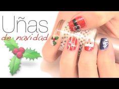 Diseños de uñas para Navidad. Easy Nail art for Christmas.