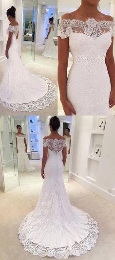 gorgeous mermaid long wedding dress, white lace long wedding dress bridal gown