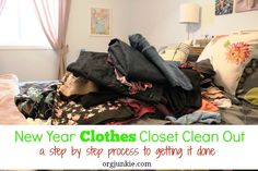 New Year Clothes Closet Clean Out plus 11 golden rules for decluttering your clothes at I'm an Organizing Junkie blog