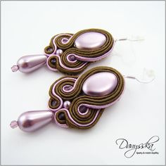 Brown and Pink Soutache Earrings Silver Plated 244
