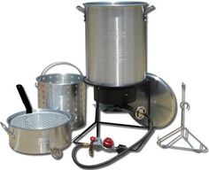 Outdoor Propane Burner Turkey Cooker Frying Boil 2 Aluminum Pots Fry Pan Basket #OutdoorCooking #Camping