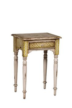 love the finish on this Side Table with Turned Legs.. Yellow..