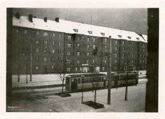 1940 , Breslau 1940... a dokładnie ulica Hallera przy skrzyżowaniu z Wróblą, widok z okna na pierwszym piętrze budynku koszar... Budynek widoczny po lewej stoi do dziś, ten po prawej nie przetrwał wojny.