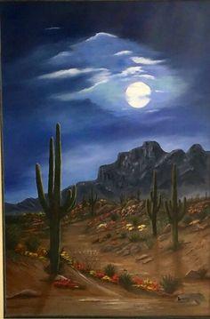 """framed desert scene,original oil painting """"Saguaros in the Moonlight"""" by Brenda Bowers Desert Art, Desert Sunset, Beto Jamaica, Scenary Paintings, Landscape Art, Landscape Paintings, Oil Painting Background, Southwestern Art, Le Far West"""